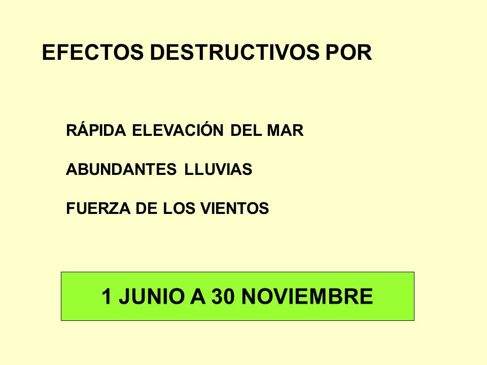 EFECTOS DESTRUCTIVOS POR RÁPIDA ELEVACIÓN DEL MAR ABUNDANTES LLUVIAS FUERZA DE LOS VIENTOS 1 JUNIO A 30 NOVIEMBRE