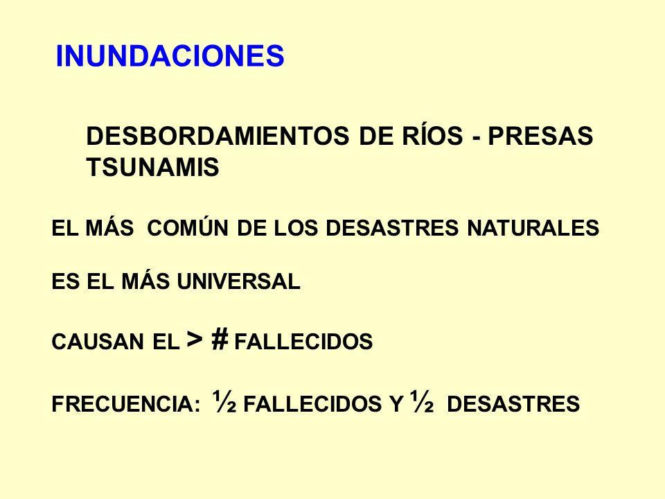 INUNDACIONES DESBORDAMIENTOS DE RÍOS - PRESAS TSUNAMIS EL MÁS COMÚN DE LOS DESASTRES NATURALES ES EL MÁS UNIVERSAL CAUSAN EL > # FALLECIDOS FRECUENCIA