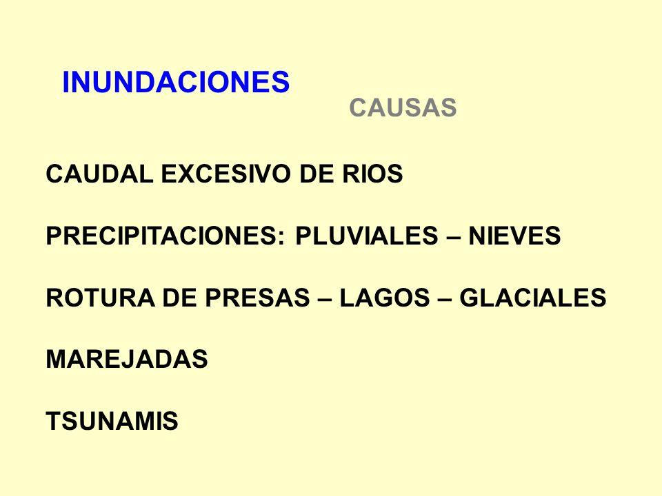 INUNDACIONES CAUSAS CAUDAL EXCESIVO DE RIOS PRECIPITACIONES: PLUVIALES – NIEVES ROTURA DE PRESAS – LAGOS – GLACIALES MAREJADAS TSUNAMIS