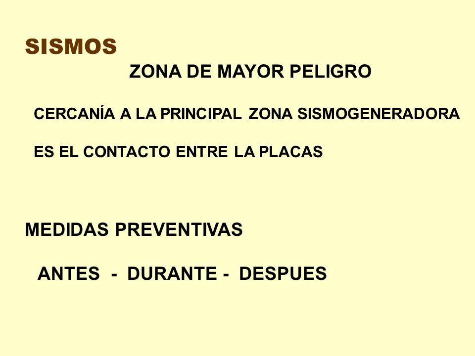 SISMOS ZONA DE MAYOR PELIGRO CERCANÍA A LA PRINCIPAL ZONA SISMOGENERADORA ES EL CONTACTO ENTRE LA PLACAS MEDIDAS PREVENTIVAS ANTES - DURANTE - DESPUES