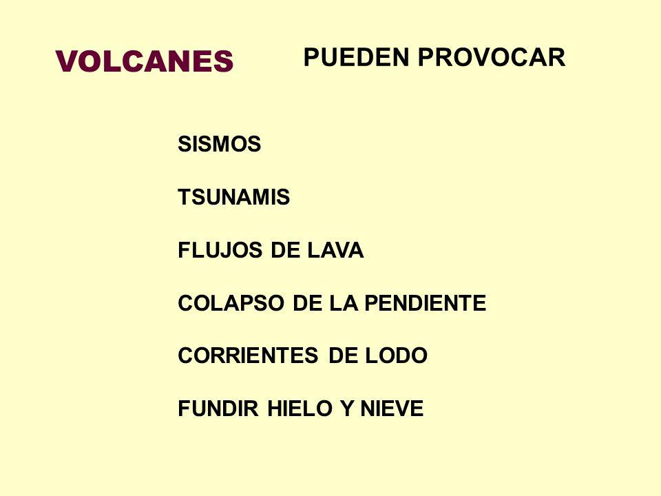 VOLCANES SISMOS TSUNAMIS FLUJOS DE LAVA COLAPSO DE LA PENDIENTE CORRIENTES DE LODO FUNDIR HIELO Y NIEVE PUEDEN PROVOCAR