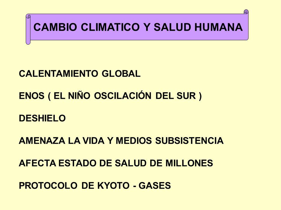 CAMBIO CLIMATICO Y SALUD HUMANA CALENTAMIENTO GLOBAL ENOS ( EL NIÑO OSCILACIÓN DEL SUR ) DESHIELO AMENAZA LA VIDA Y MEDIOS SUBSISTENCIA AFECTA ESTADO