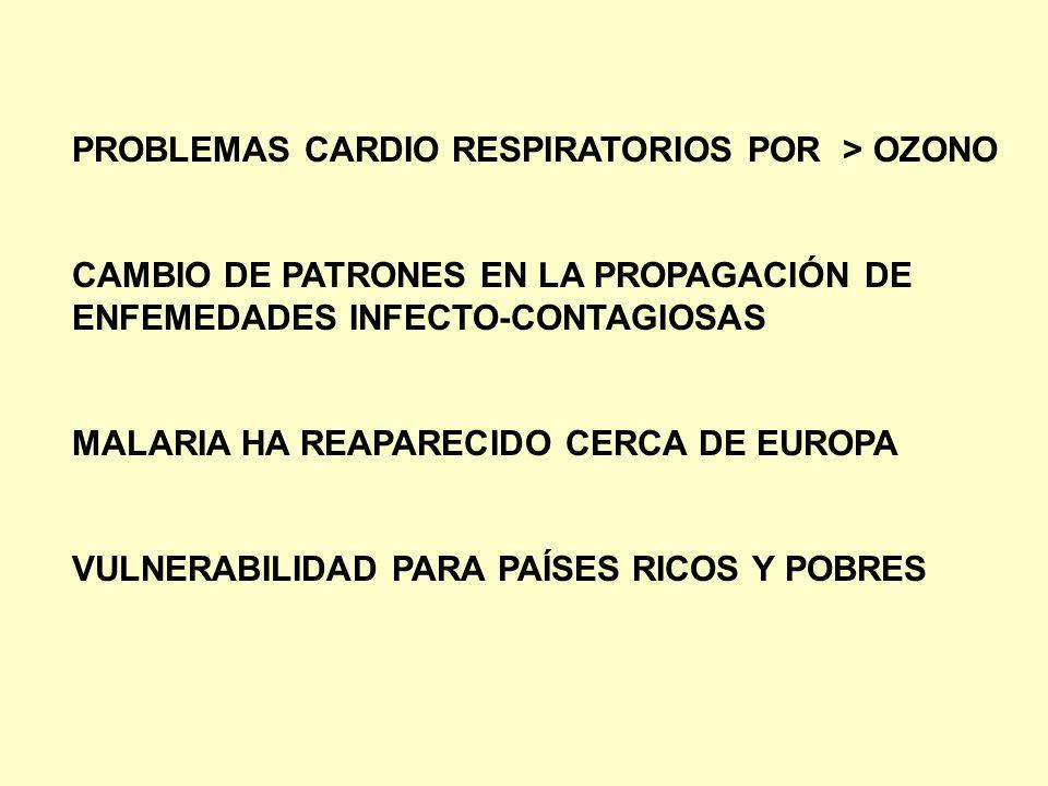 PROBLEMAS CARDIO RESPIRATORIOS POR > OZONO CAMBIO DE PATRONES EN LA PROPAGACIÓN DE ENFEMEDADES INFECTO-CONTAGIOSAS MALARIA HA REAPARECIDO CERCA DE EUR