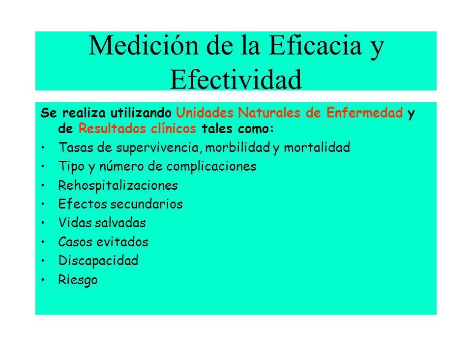 Medición de la Eficacia y Efectividad Se realiza utilizando Unidades Naturales de Enfermedad y de Resultados clínicos tales como: Tasas de supervivenc