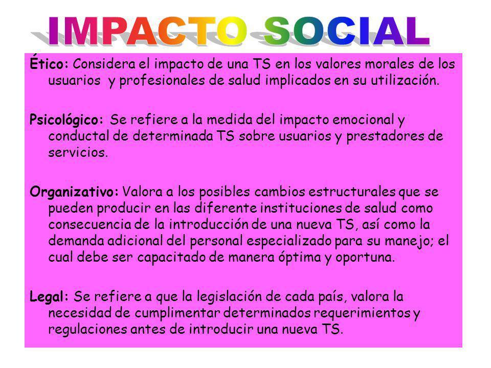 Ético: Considera el impacto de una TS en los valores morales de los usuarios y profesionales de salud implicados en su utilización. Psicológico: Se re