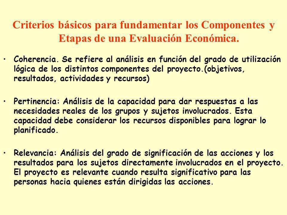 Criterios básicos para fundamentar los Componentes y Etapas de una Evaluación Económica. Coherencia. Se refiere al análisis en función del grado de ut