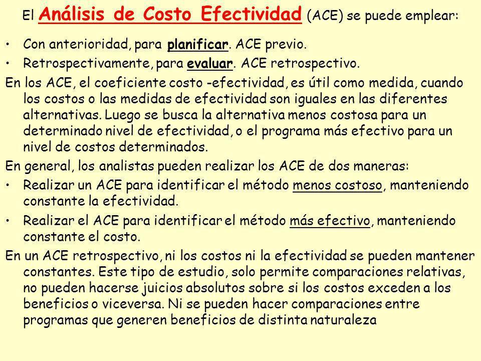 El Análisis de Costo Efectividad (ACE) se puede emplear: Con anterioridad, para planificar. ACE previo. Retrospectivamente, para evaluar. ACE retrospe