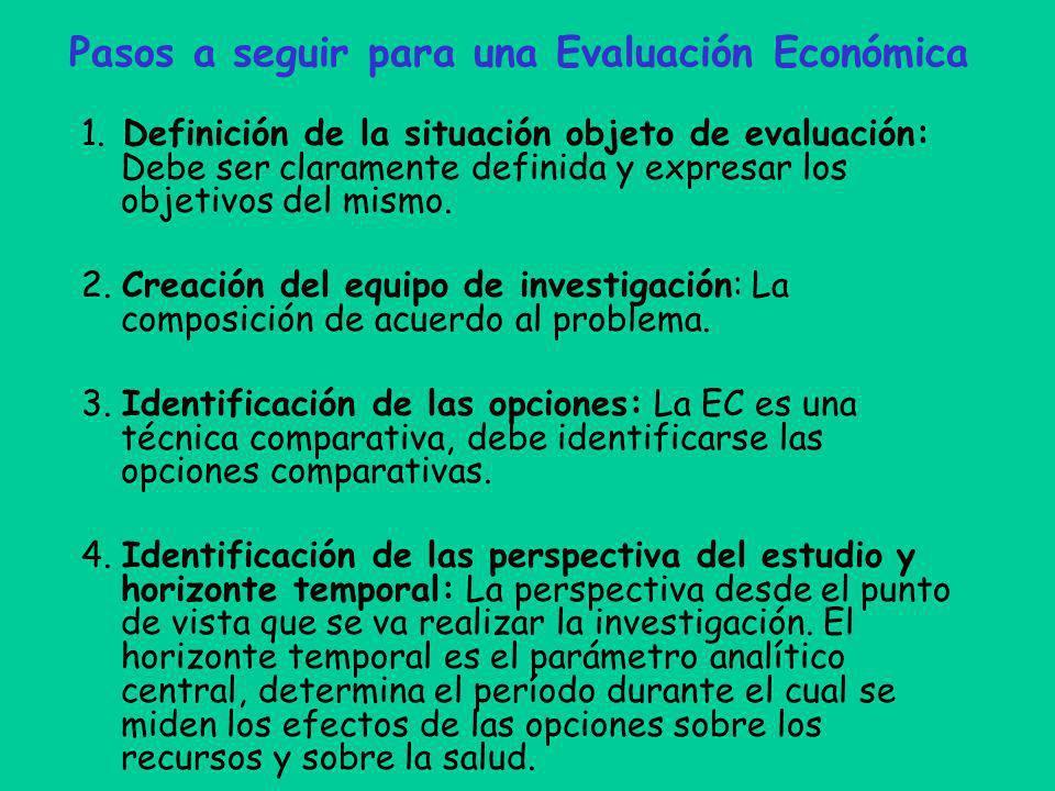 Pasos a seguir para una Evaluación Económica 1. Definición de la situación objeto de evaluación: Debe ser claramente definida y expresar los objetivos
