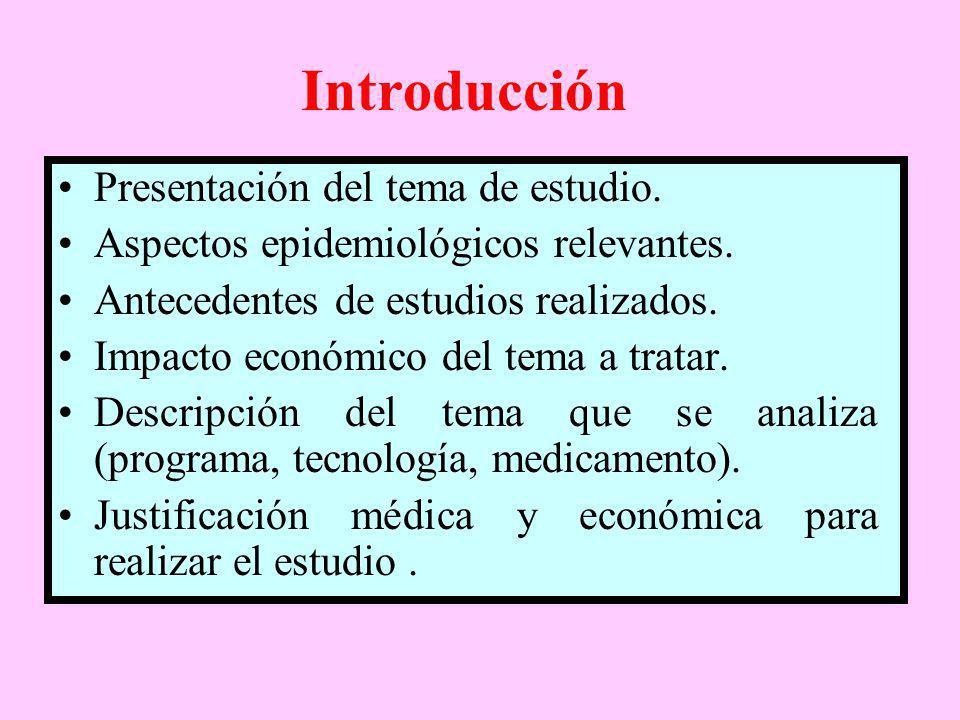 Introducción Presentación del tema de estudio. Aspectos epidemiológicos relevantes. Antecedentes de estudios realizados. Impacto económico del tema a