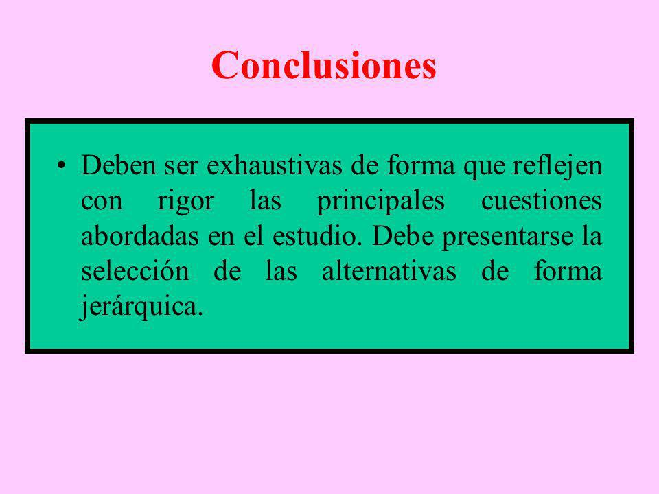 Conclusiones Deben ser exhaustivas de forma que reflejen con rigor las principales cuestiones abordadas en el estudio. Debe presentarse la selección d