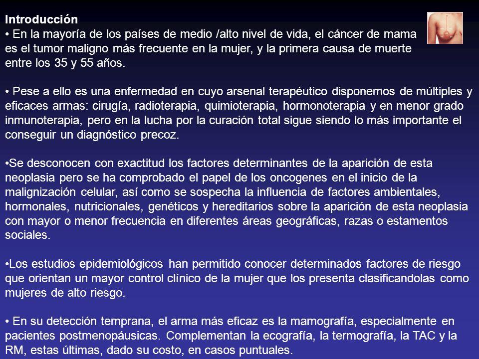 Introducción En la mayoría de los países de medio /alto nivel de vida, el cáncer de mama es el tumor maligno más frecuente en la mujer, y la primera c