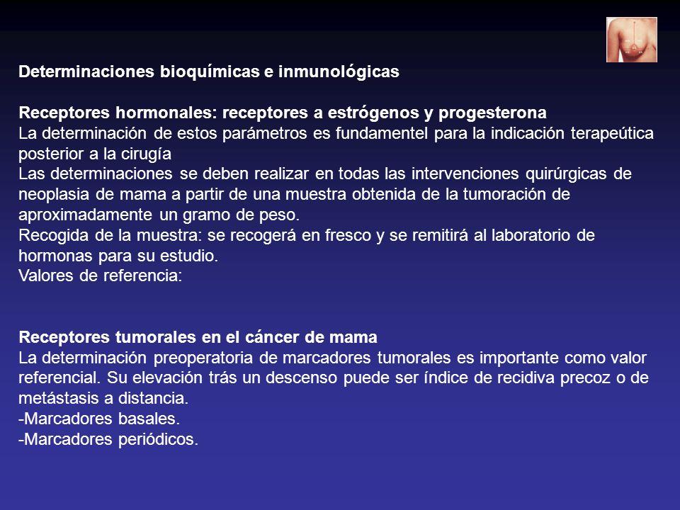 Determinaciones bioquímicas e inmunológicas Receptores hormonales: receptores a estrógenos y progesterona La determinación de estos parámetros es fund