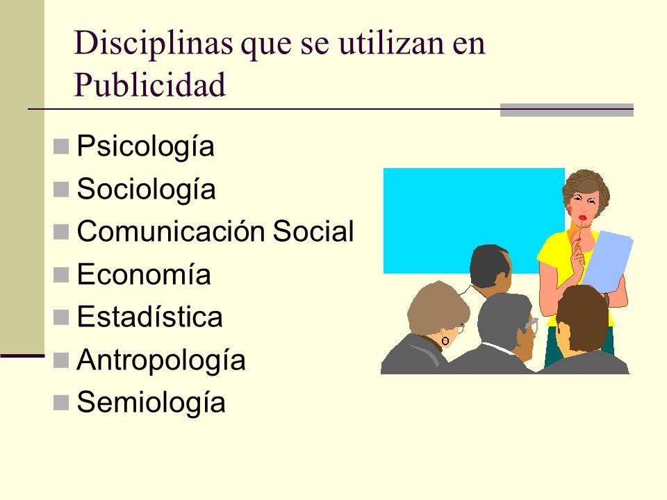 Disciplinas que se utilizan en Publicidad Psicología Sociología Comunicación Social Economía Estadística Antropología Semiología