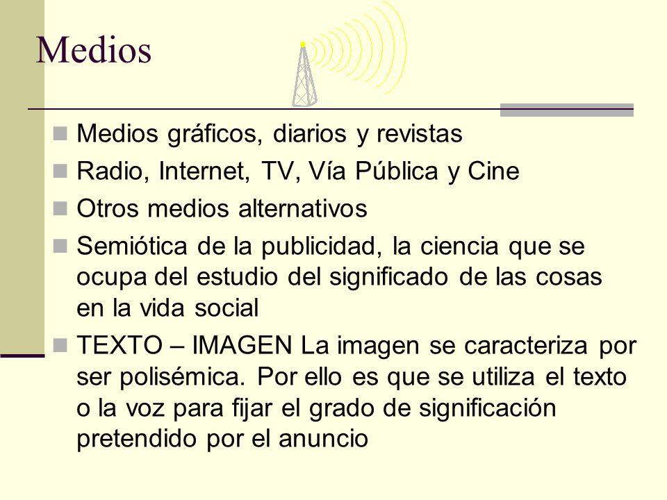 Medios Medios gráficos, diarios y revistas Radio, Internet, TV, Vía Pública y Cine Otros medios alternativos Semiótica de la publicidad, la ciencia qu