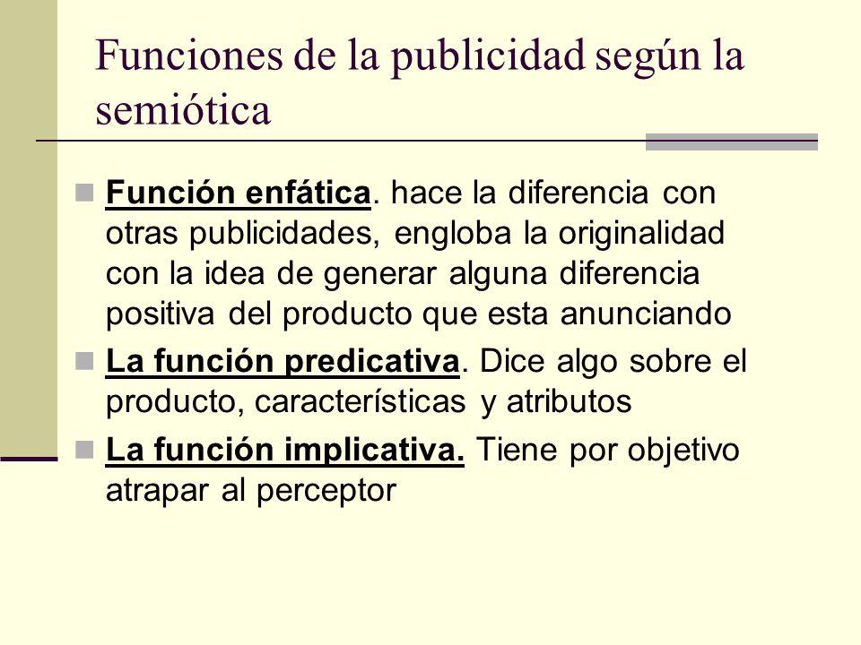 Funciones de la publicidad según la semiótica Función enfática. hace la diferencia con otras publicidades, engloba la originalidad con la idea de gene