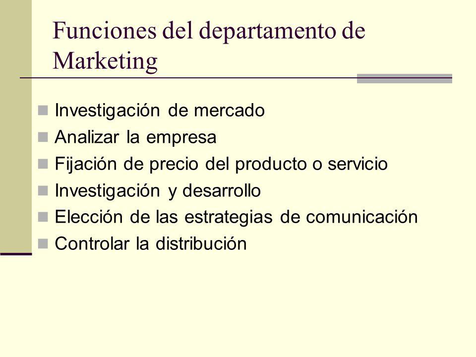 Funciones del departamento de Marketing Investigación de mercado Analizar la empresa Fijación de precio del producto o servicio Investigación y desarr