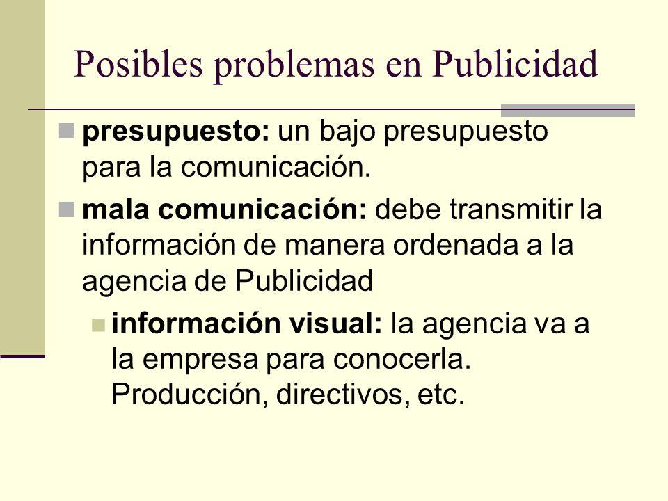 Posibles problemas en Publicidad presupuesto: un bajo presupuesto para la comunicación. mala comunicación: debe transmitir la información de manera or