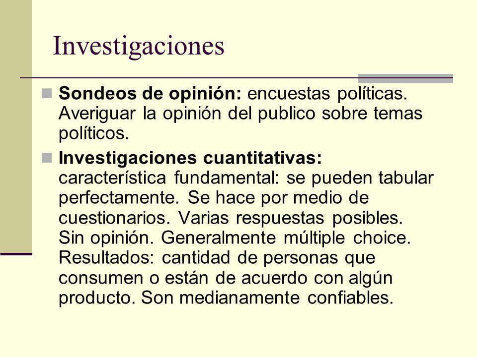 Investigaciones Sondeos de opinión: encuestas políticas. Averiguar la opinión del publico sobre temas políticos. Investigaciones cuantitativas: caract