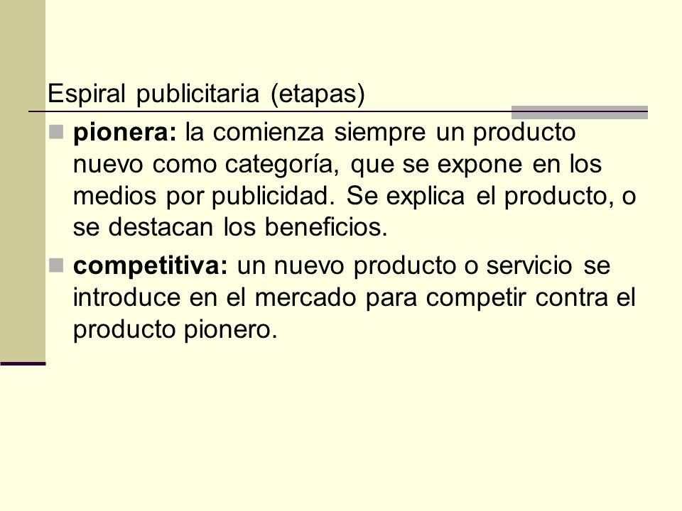 Espiral publicitaria (etapas) pionera: la comienza siempre un producto nuevo como categoría, que se expone en los medios por publicidad. Se explica el