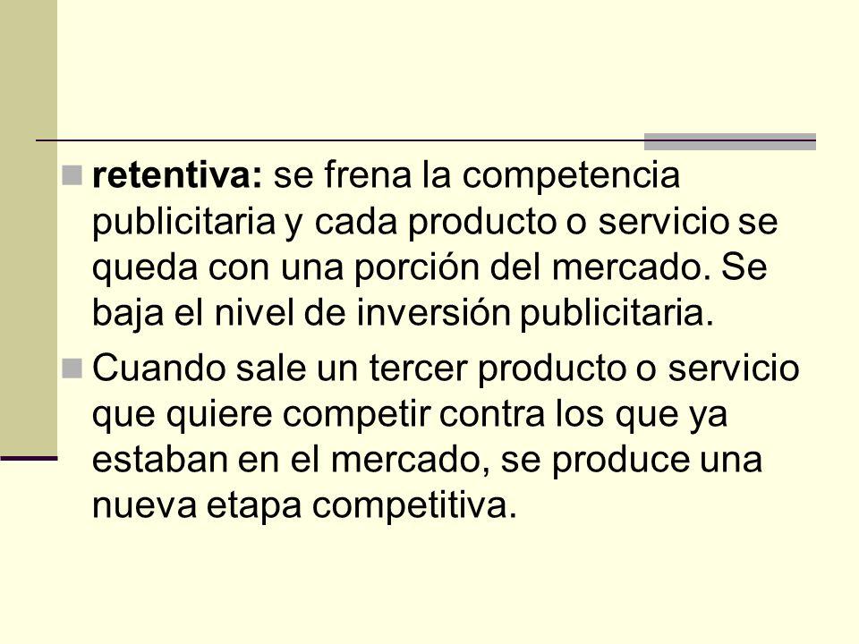 retentiva: se frena la competencia publicitaria y cada producto o servicio se queda con una porción del mercado. Se baja el nivel de inversión publici
