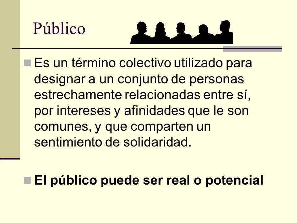 Público Es un término colectivo utilizado para designar a un conjunto de personas estrechamente relacionadas entre sí, por intereses y afinidades que
