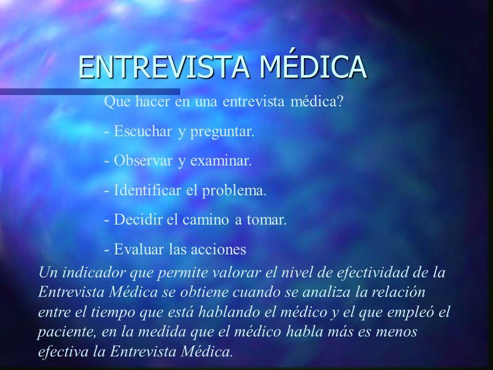 La entrevista médica abarca aspectos de cada uno de ellos, por lo que puede decirse que la consulta es una entrevista mixta. La entrevista médica abar