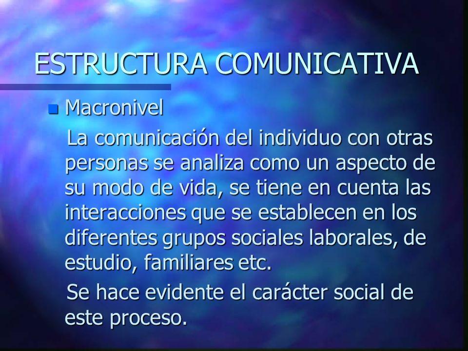 ESTRUCTURA COMUNICATIVA n Macronivel La comunicación del individuo con otras personas se analiza como un aspecto de su modo de vida, se tiene en cuenta las interacciones que se establecen en los diferentes grupos sociales laborales, de estudio, familiares etc.