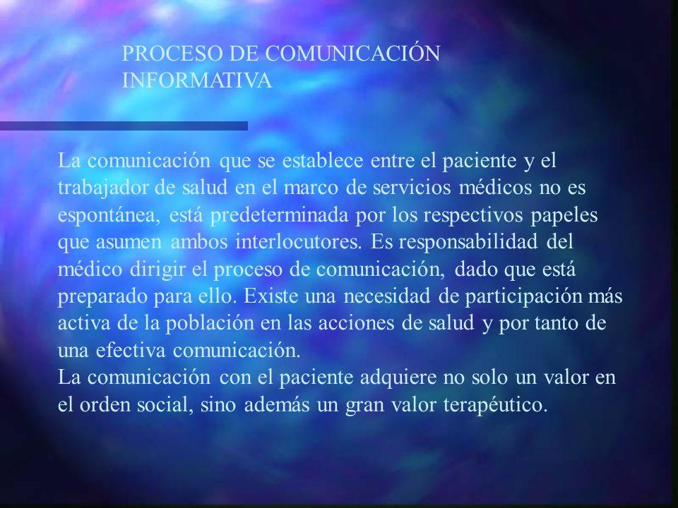 PROCESO DE COMUNICACIÓN INFORMATIVA La comunicación que se establece entre el paciente y el trabajador de salud en el marco de servicios médicos no es espontánea, está predeterminada por los respectivos papeles que asumen ambos interlocutores.