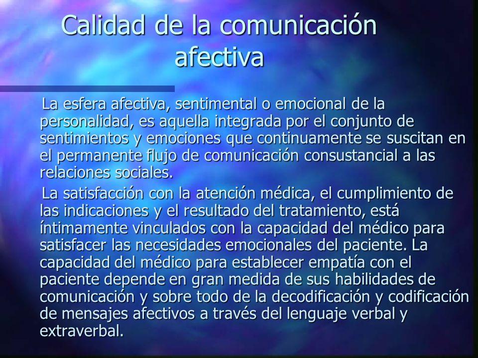 Calidad de la comunicación afectiva La esfera afectiva, sentimental o emocional de la personalidad, es aquella integrada por el conjunto de sentimientos y emociones que continuamente se suscitan en el permanente flujo de comunicación consustancial a las relaciones sociales.