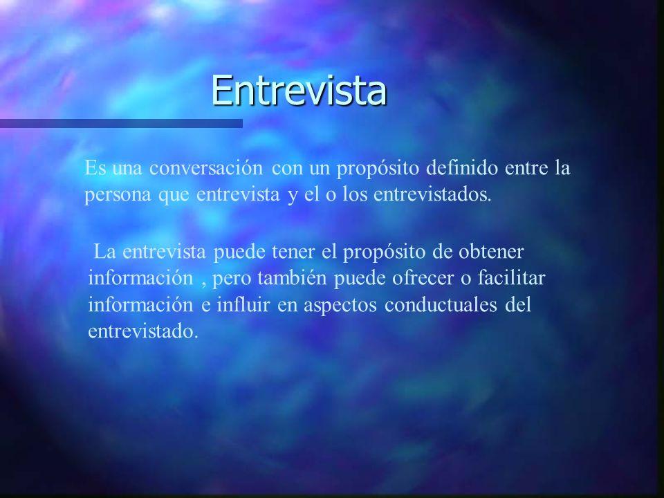 Entrevista Es una conversación con un propósito definido entre la persona que entrevista y el o los entrevistados.