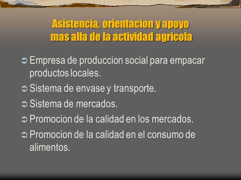Asistencia, orientacion y apoyo mas alla de la actividad agricola Empresa de produccion social para empacar productos locales. Sistema de envase y tra