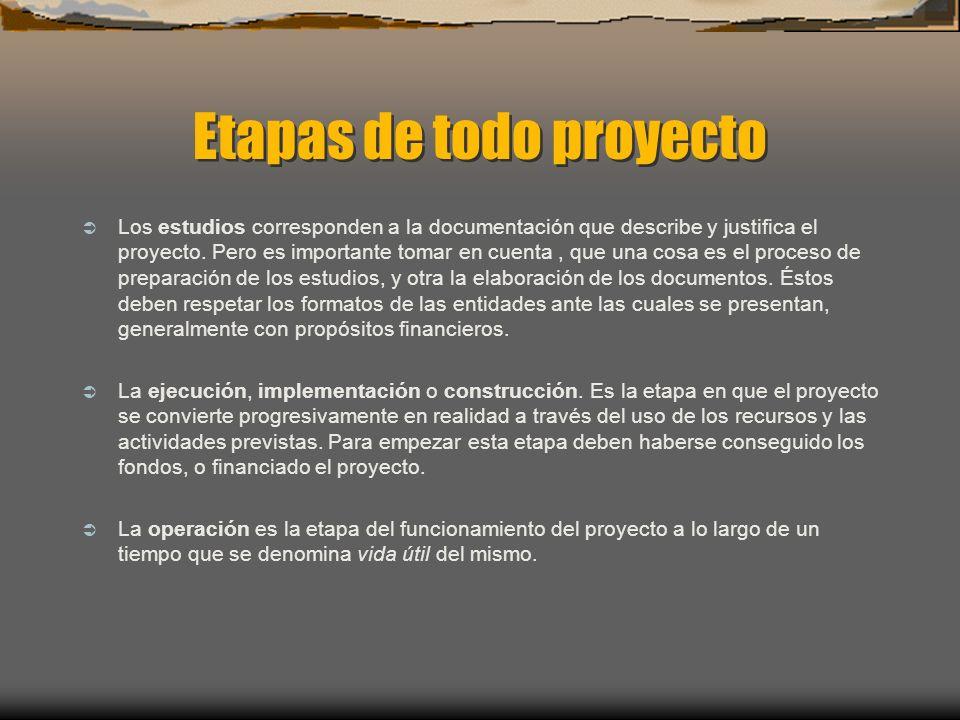Etapas de todo proyecto Los estudios corresponden a la documentación que describe y justifica el proyecto. Pero es importante tomar en cuenta, que una