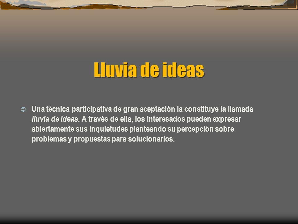 Lluvia de ideas Una técnica participativa de gran aceptación la constituye la llamada lluvia de ideas. A través de ella, los interesados pueden expres