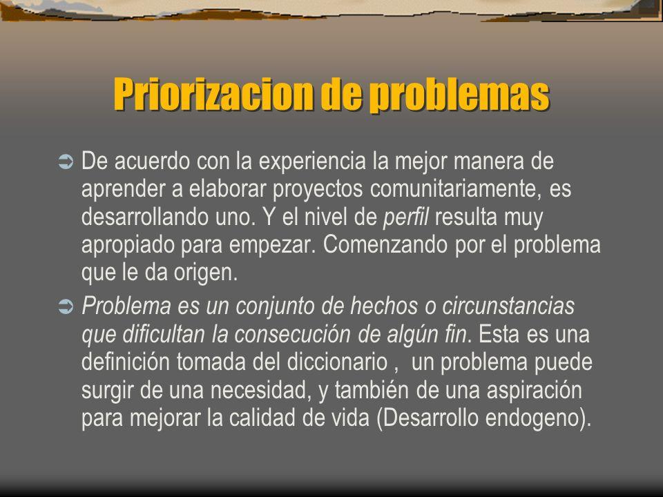 Priorizacion de problemas De acuerdo con la experiencia la mejor manera de aprender a elaborar proyectos comunitariamente, es desarrollando uno. Y el