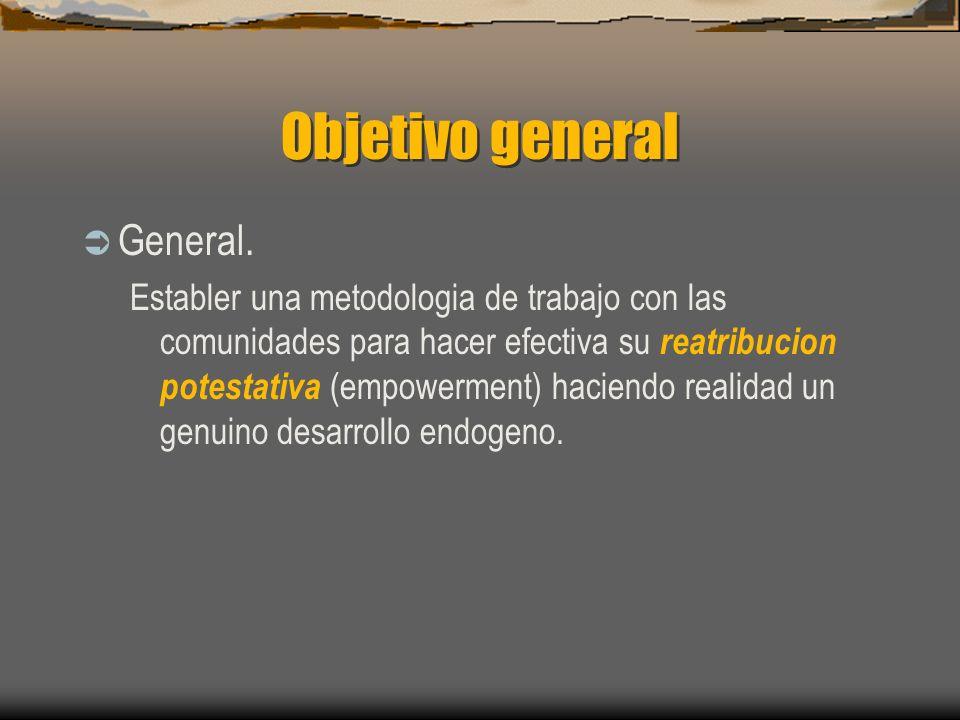 Objetivo general General. Establer una metodologia de trabajo con las comunidades para hacer efectiva su reatribucion potestativa (empowerment) hacien