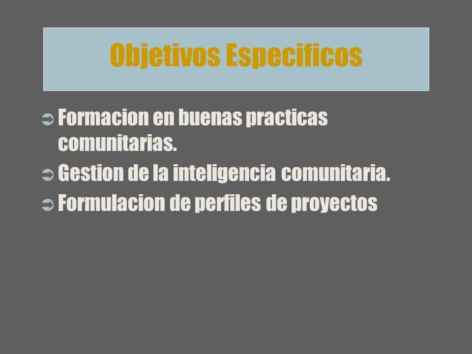 Formacion en buenas practicas comunitarias. Gestion de la inteligencia comunitaria. Formulacion de perfiles de proyectos Objetivos Especificos