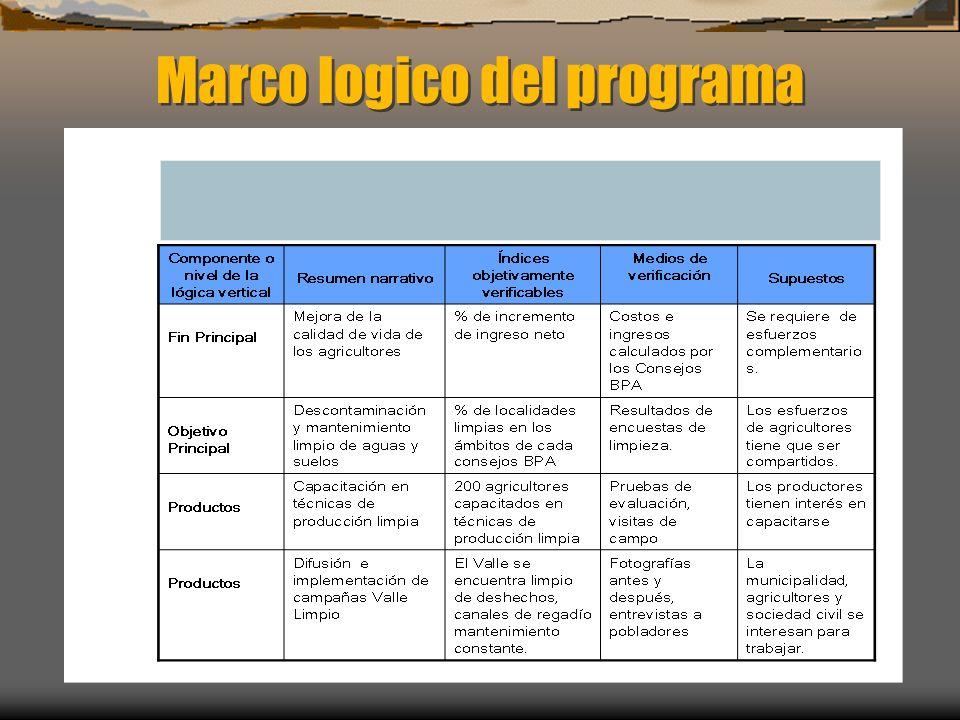 Marco logico del programa