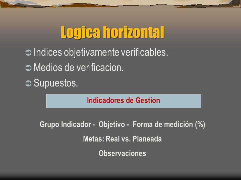 Logica horizontal Indices objetivamente verificables. Medios de verificacion. Supuestos. Grupo Indicador - Objetivo - Forma de medición (%) Metas: Rea