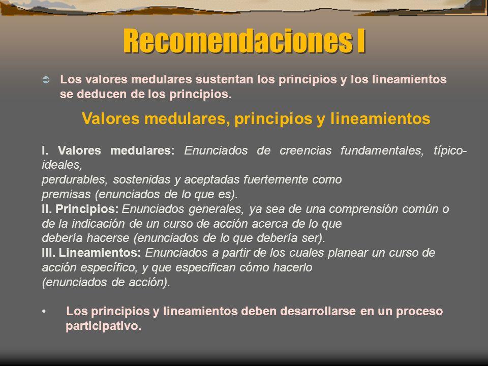 Recomendaciones I Los valores medulares sustentan los principios y los lineamientos se deducen de los principios. Valores medulares, principios y line
