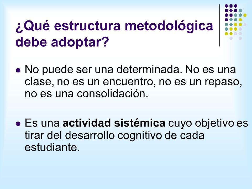 ¿Qué estructura metodológica debe adoptar.No puede ser una determinada.