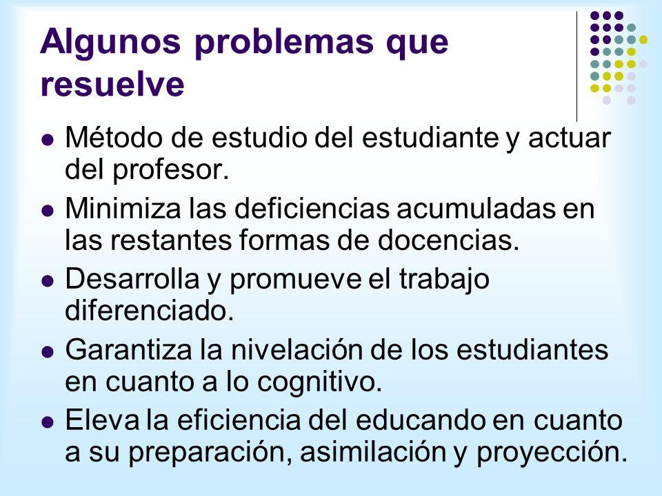 Algunos problemas que resuelve Método de estudio del estudiante y actuar del profesor.