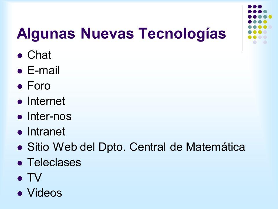 Algunas Nuevas Tecnologías Chat E-mail Foro Internet Inter-nos Intranet Sitio Web del Dpto.