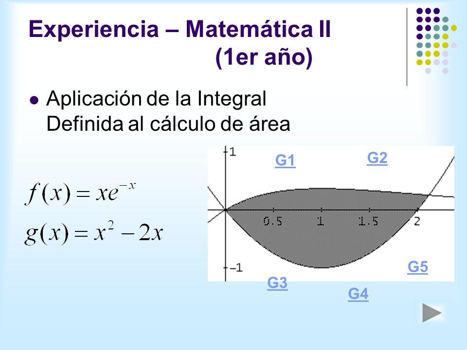Experiencia – Matemática II (1er año) Aplicación de la Integral Definida al cálculo de área G1 G2 G3 G4 G5