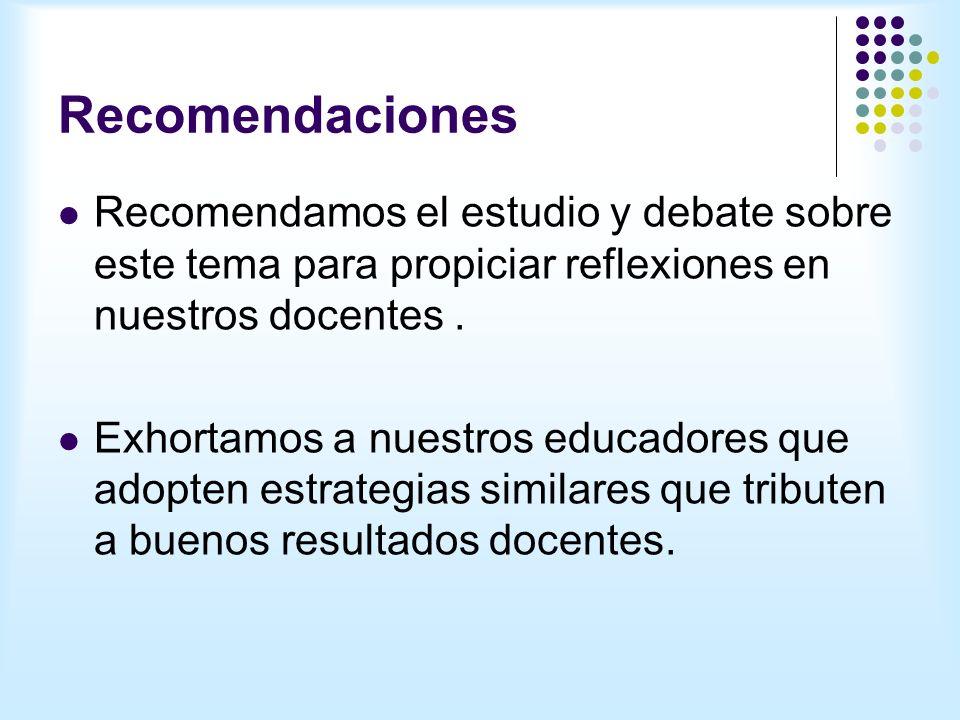 Recomendaciones Recomendamos el estudio y debate sobre este tema para propiciar reflexiones en nuestros docentes.