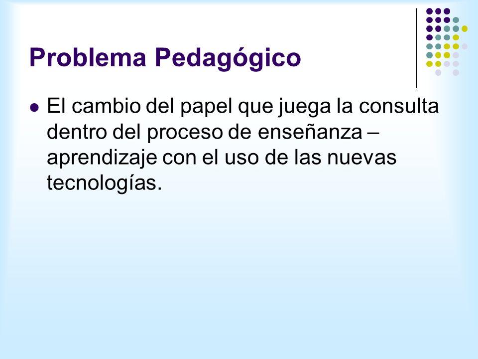 Problema Pedagógico El cambio del papel que juega la consulta dentro del proceso de enseñanza – aprendizaje con el uso de las nuevas tecnologías.
