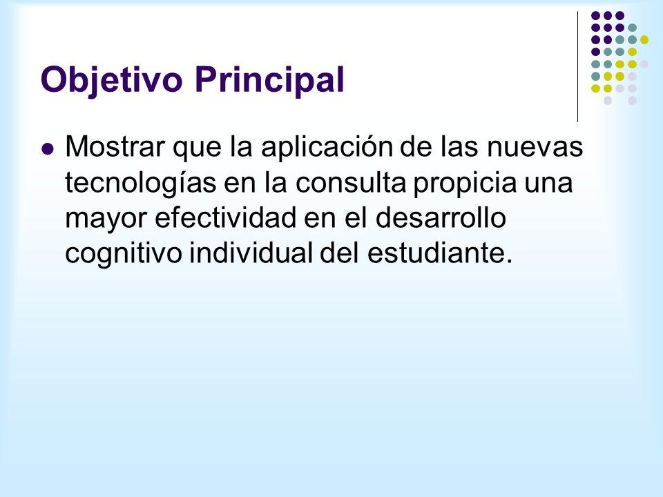 Objetivo Principal Mostrar que la aplicación de las nuevas tecnologías en la consulta propicia una mayor efectividad en el desarrollo cognitivo individual del estudiante.