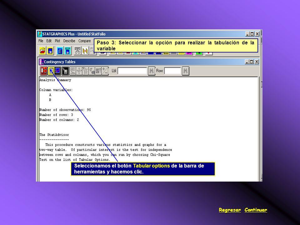 Seleccionamos el botón Tabular options de la barra de herramientas y hacemos clic.