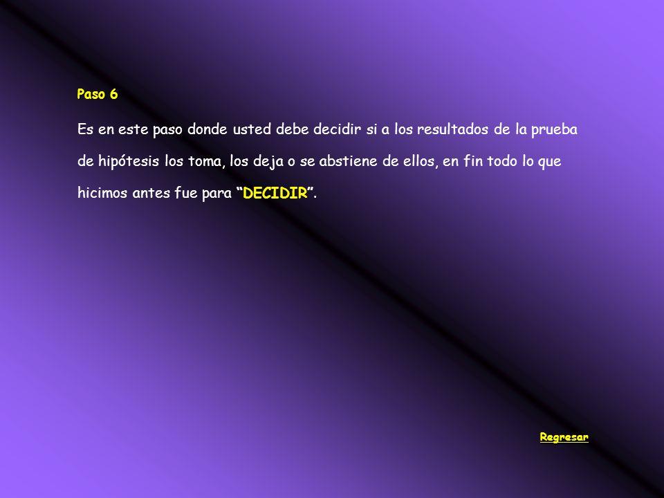 Paso 6 Es en este paso donde usted debe decidir si a los resultados de la prueba de hipótesis los toma, los deja o se abstiene de ellos, en fin todo lo que hicimos antes fue para DECIDIR.