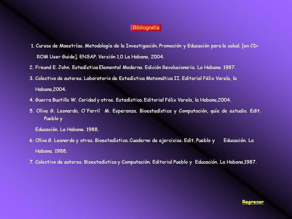 1. Cursos de Maestrías. Metodología de la Investigación, Promoción y Educación para la salud.
