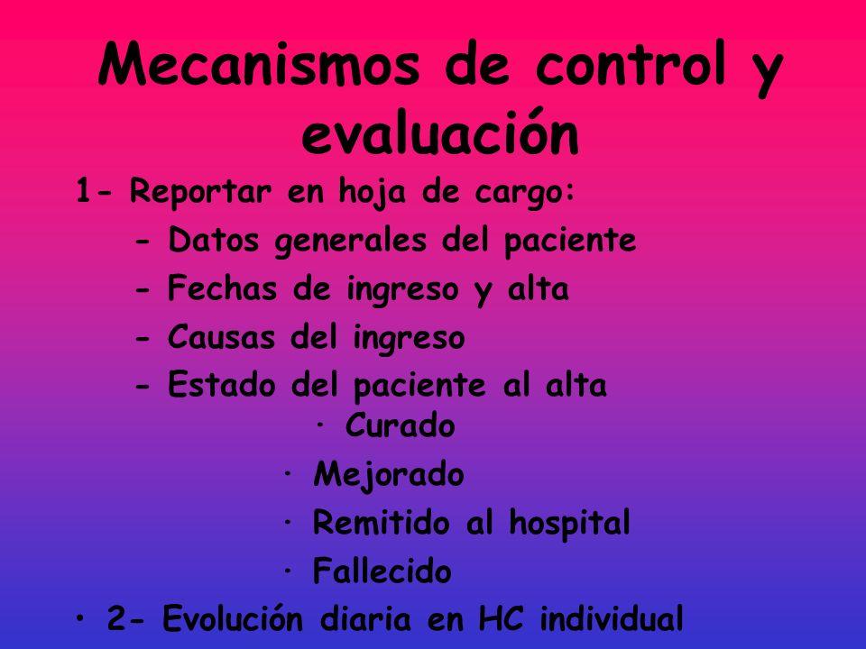 Mecanismos de control y evaluación 1- Reportar en hoja de cargo: - Datos generales del paciente - Fechas de ingreso y alta - Causas del ingreso - Esta
